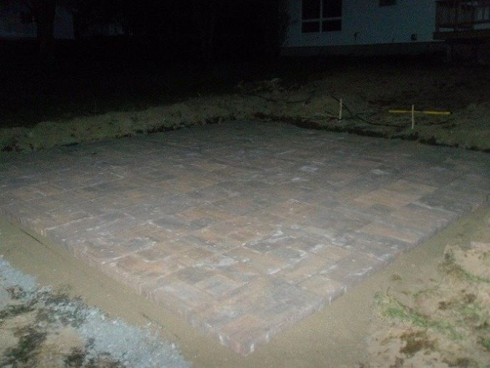 Finished laying patio pavers