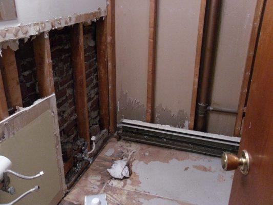 Drywall Removed, Bathroom Renovation