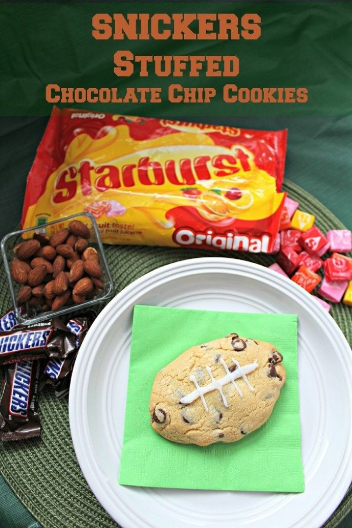 SNICKERS Stuffed Chocolate Chip Cookies - #BigGameTreats #Ad