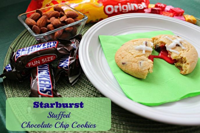 Starburst Stuffed #BigGameTreats Chocolate Chip Cookies - #Ad