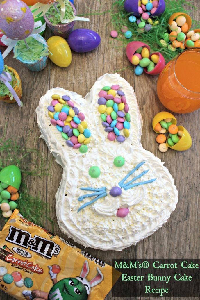 M&M's Carrot Cake Easter Cake Recipe! Check out this EASY Easter bunny cake recipe. You really only need a few ingredients to make this festive Easter cake!