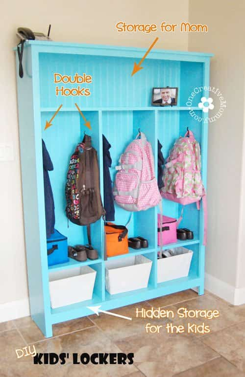 DIY Hallway or Mudroom Storage Lockers