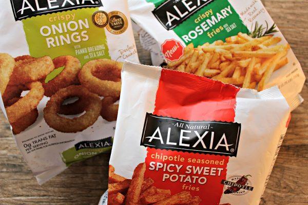 Alexia Crispy Rosemary Fries and Sea Salt, Alexia Spicy Sweet Potato Fries and Alexia Crispy Onion Rings
