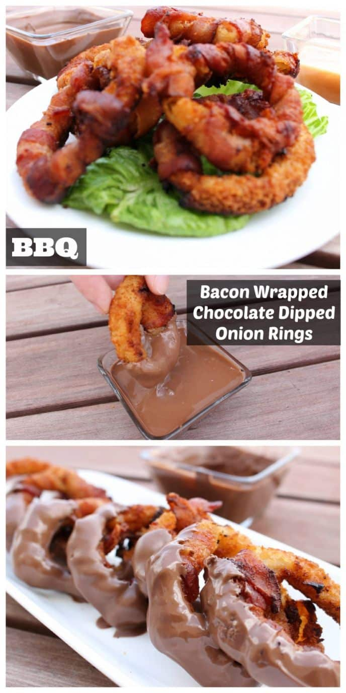 BBQ Bacon Wrapped Chocolate Dipped Onion Rings