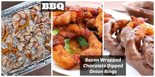 Bacon Wrapped Chocolate Dipped Onion Rings