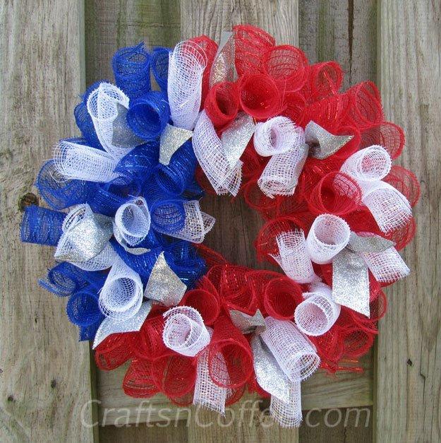 Deco Mesh Patriotic Door Wreath DIY