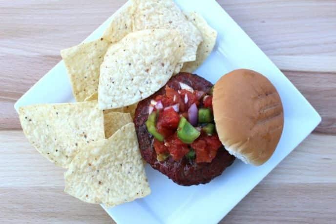 Easy Homemade Chunky Salsa on burgers
