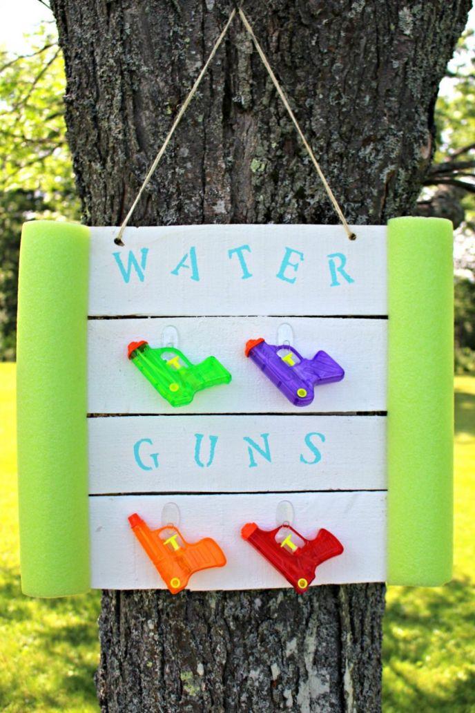 DIY Water Gun Holder from Pallets