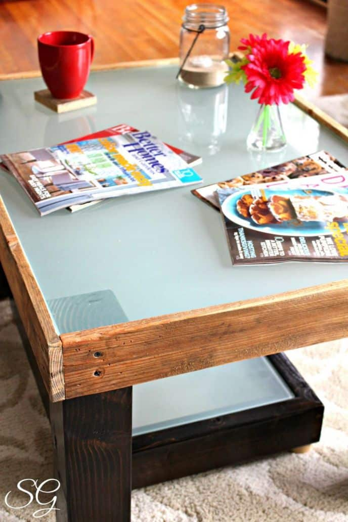 Repurposed Wood and Glass Coffee Table