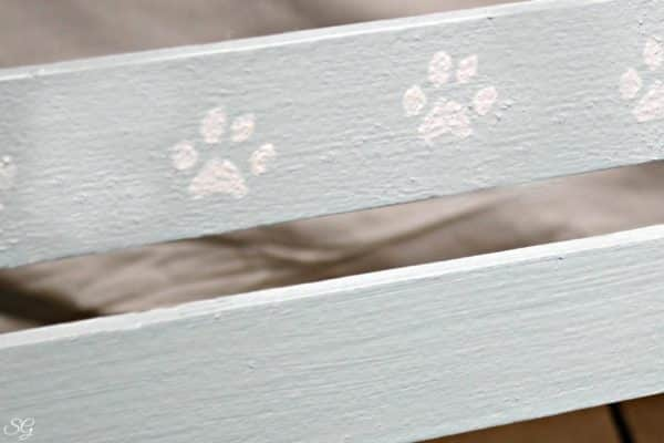 Stenciling Cat Paws onto the DIY Crate Cat Bed