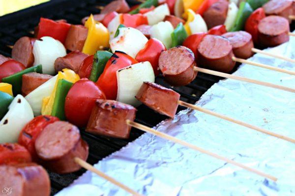 Kielbasa Kebabs on the BBQ Grill