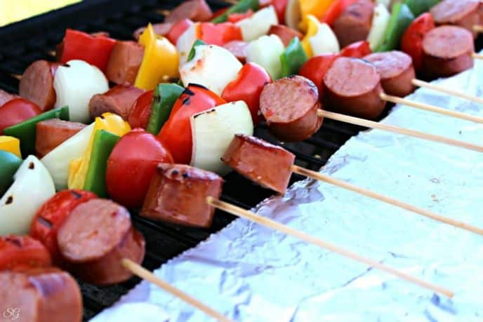 Kielbasa Kebabs on the BBQ Grill