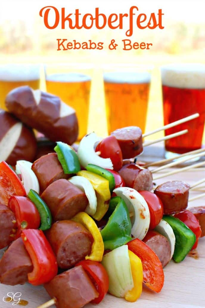 Learn how easy it is to make Oktoberfest kebabs on the grill! This easy recipe is filled with delicious meat and veggies, get the recipe when you click!