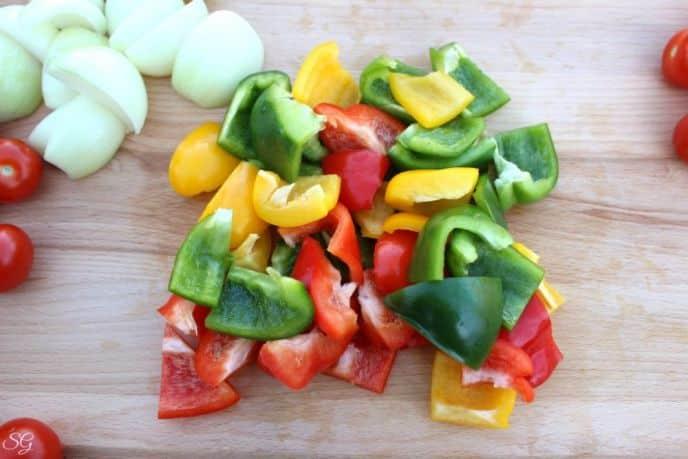 Slice Bell Peppers for Kebabs