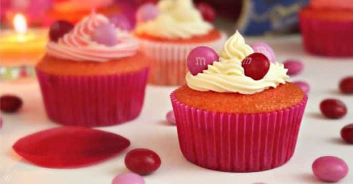 Valentine's Day M&M's® Strawberry Cupcakes