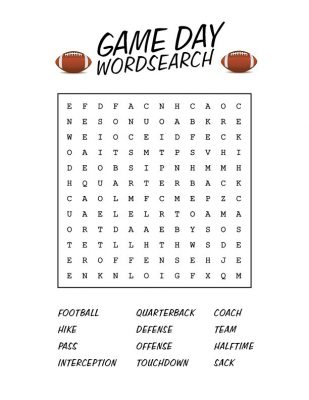 Football Game Day Word Search