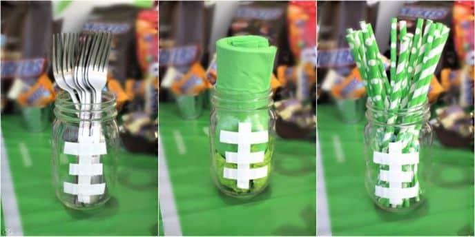 Mason Jar Footballs for Party Decor