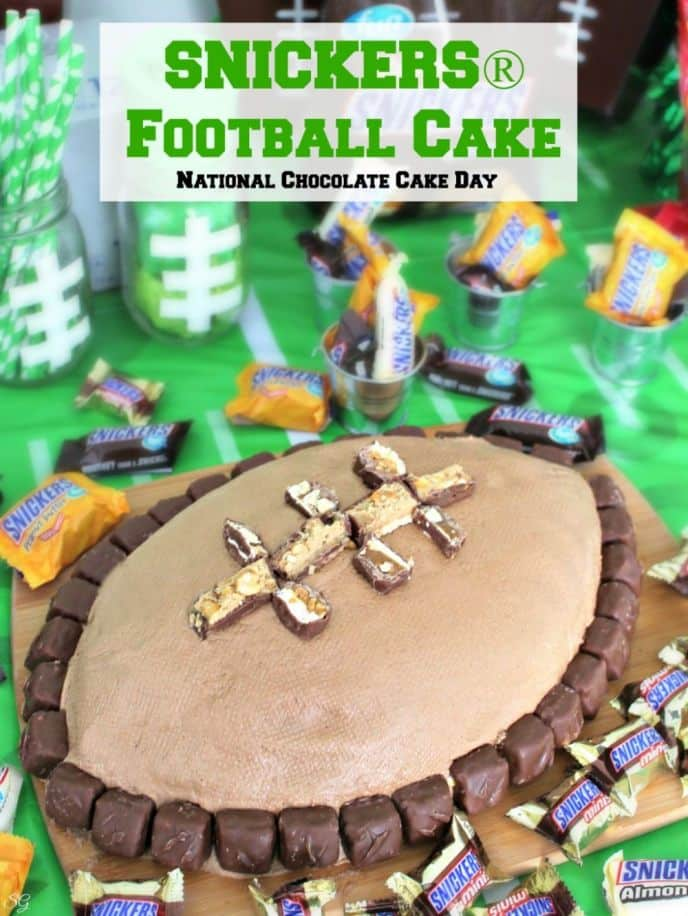 This SNICKERS® football cake is perfect for any tailgating party or football gathering - and great for national cake day, too! Click for the chocolaty recipe!