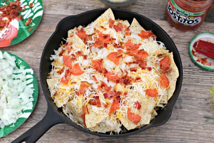 Skillet Tortilla Nachos Pizza