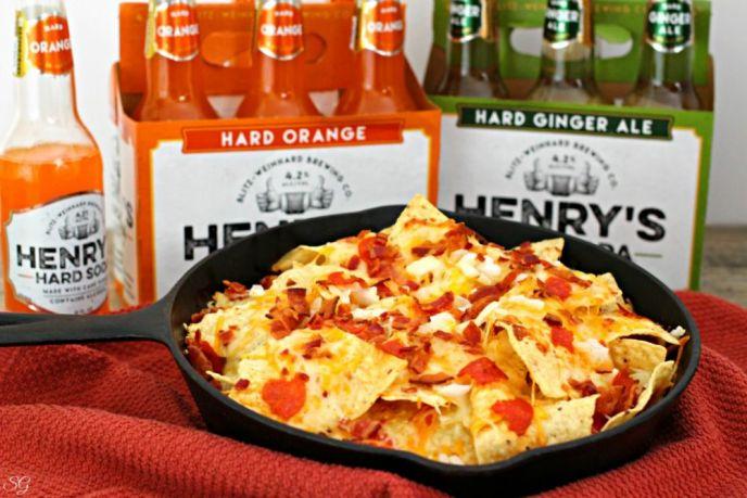 Skillet Pizza Nachos and Henry's Hard Soda