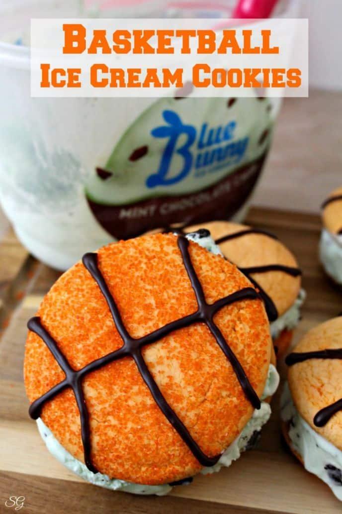 Basketball Ice Cream Cookies Dessert Recipe