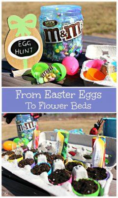 From Easter Eggs to Flower Beds, Reusing Plastic Easter Eggs