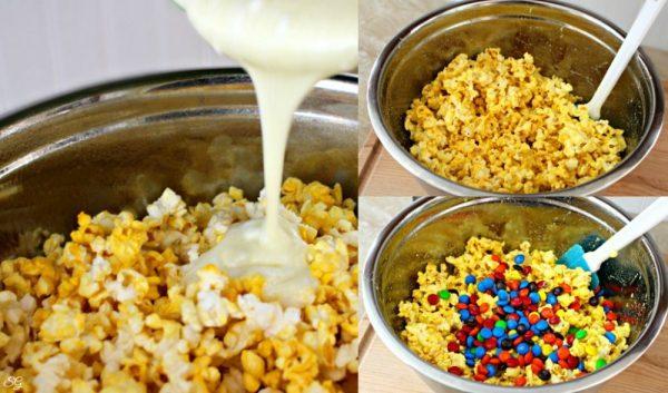 Making Marshmallow, Popcorn and M&M's Snacks
