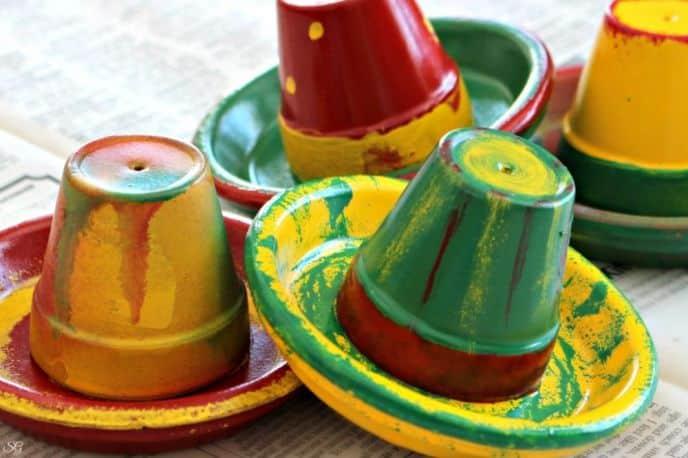 Cinco de Mayo Sombreros Terra Cotta Clay Pots