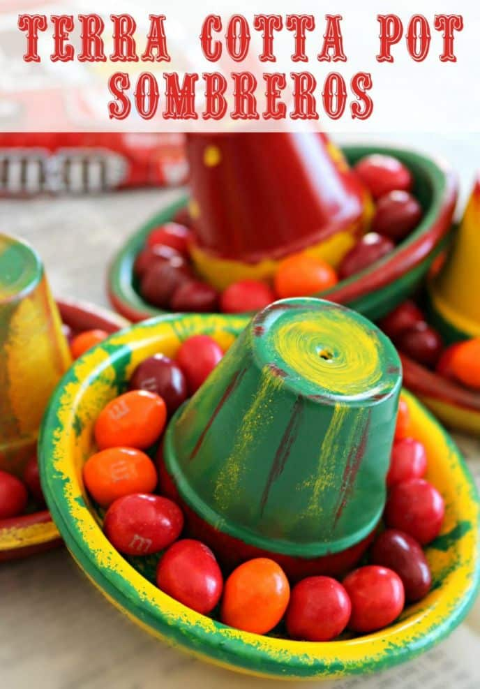 Terra Cotta Pot Clay Sombrero Hats! Learn how to make these EASY DIY terra cotta pot sombrero Cinco de Mayo crafts!