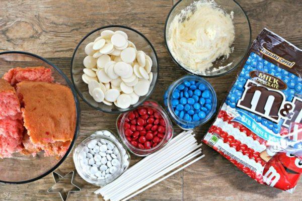 Patriotic Cake Pop Stars Ingredients