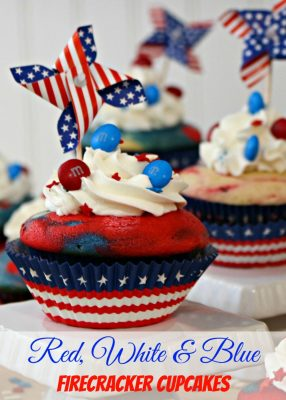 Patriotic Red, White and Blue Firecracker Cupcakes