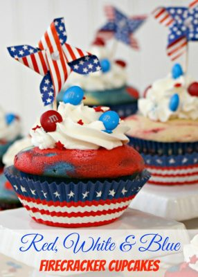 Red, White and Blue Firecracker Patriotic Cupcakes
