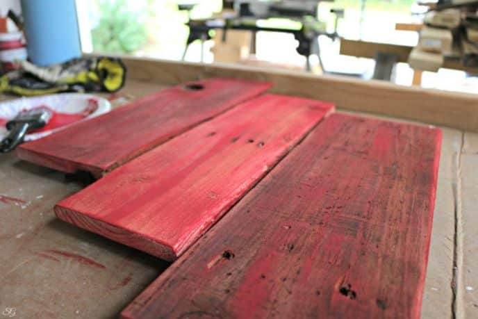 Painting DIY Coat Rack with Red Paint