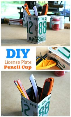 Upcycled DIY License Plate Pencil Cup