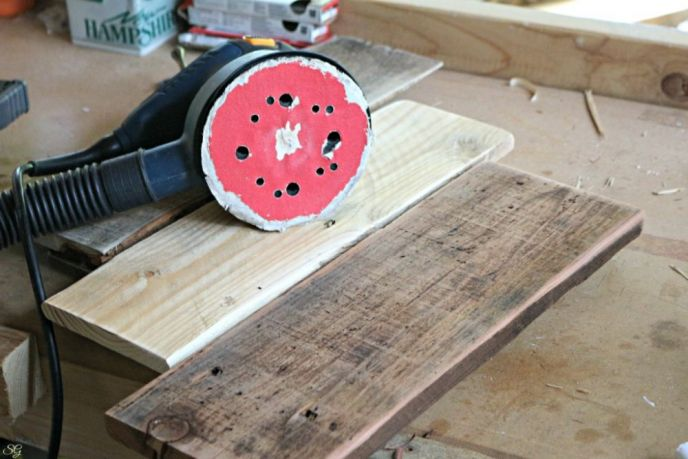 Coat Rack Pallet Wood Sanding