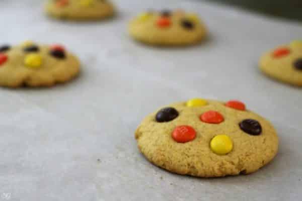 Pumpkin Cookies Baked on Cookie Sheet