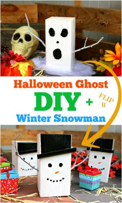 DIY Halloween Ghost and Winter Snowman Craft Decor