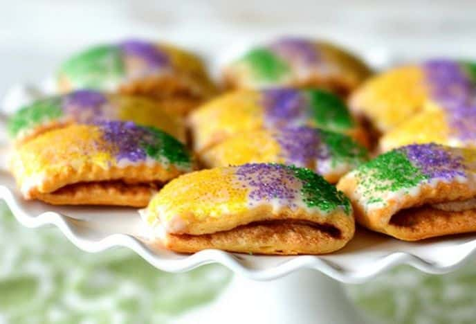 Mardi Gras King Cake Bites Dessert Recipe
