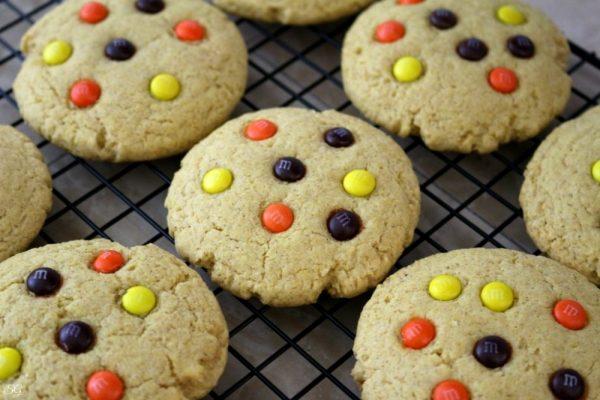 Pumpkin Cookies with M&M's Candies