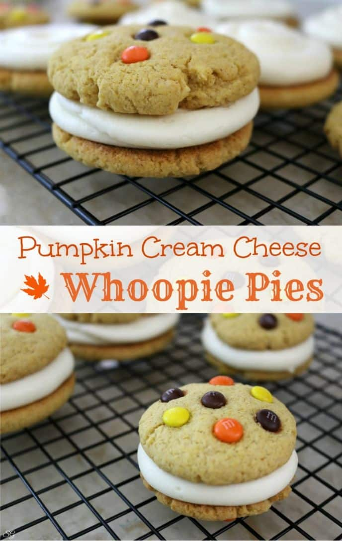 Pumpkin whoopie pies with cream cheese filling. Learn how to make these amazingly easy and delicious pumpkin whoopie pies with just a few ingredients. #SweetSquad