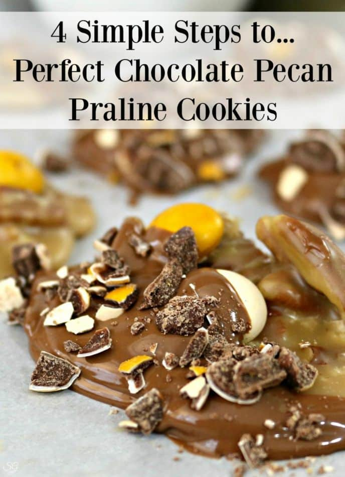 Chocolate praline pecan cookies! EASY to make with just 4 basic steps!