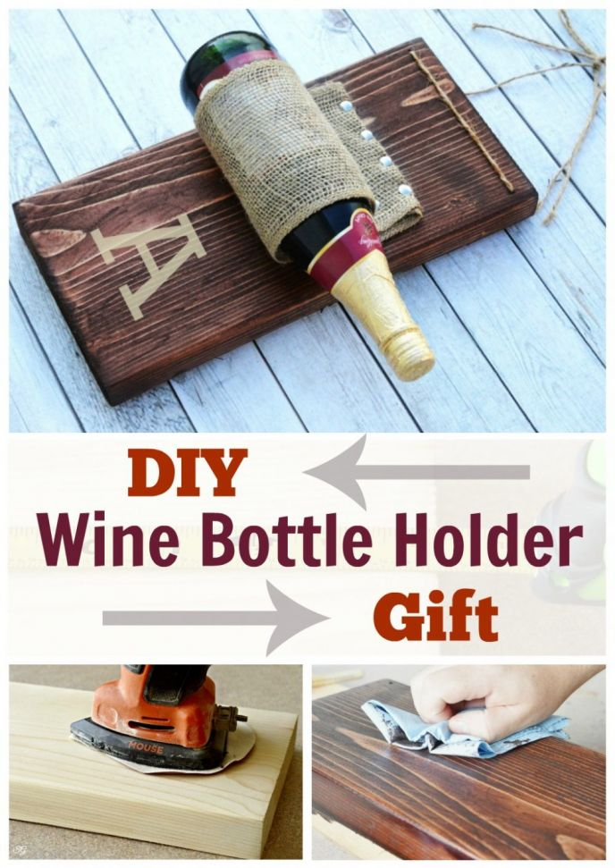 Learn how to build an EASY wine bottle holder gift. Perfect for housewarming, weddings and more. Click to build this EASY wine bottle holder!