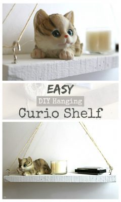 An EASY DIY hanging curio shelf. A super fun and easy DIY project. Click to learn how to make this shelf!
