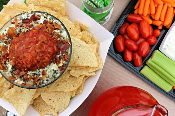 Football Party Foods like Chips, Dip, Veggies and Sliders