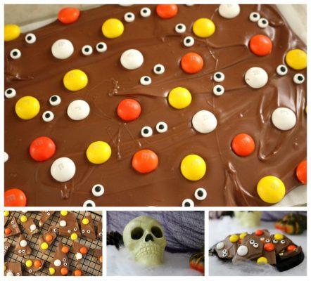 Halloween Candy Bark with M&M's and DOVE Chocolate