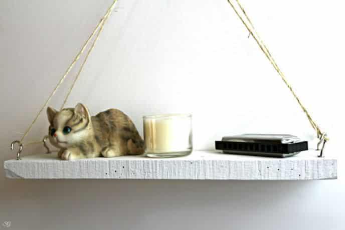 DIY hanging wood shelf project