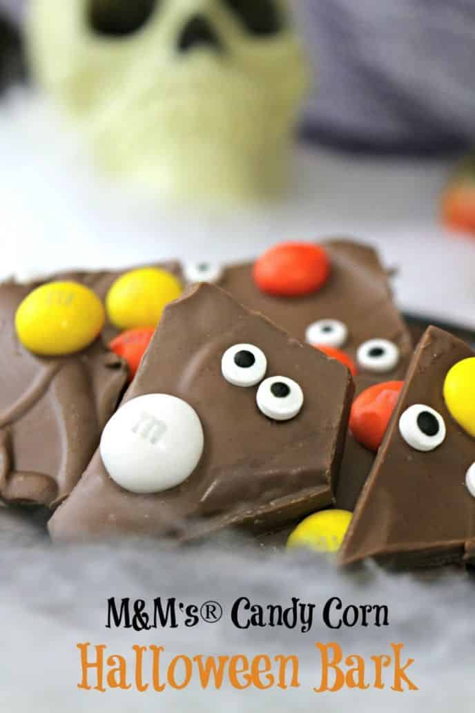 Easy M&M's® Candy Corn Bark made with DOVE® Milk Chocolate candies! This is easy and SO GOOD! Click to get the recipe! Brought to you by the #SweetSquad