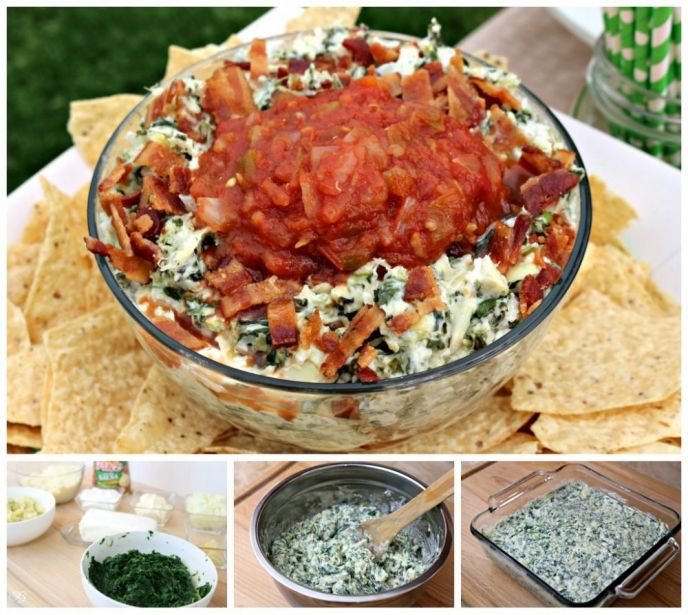 Loaded Spinach and Artichoke Dip Recipe. Spinach and Artichoke Dip Loaded with Bacon and Onions - Recipe!