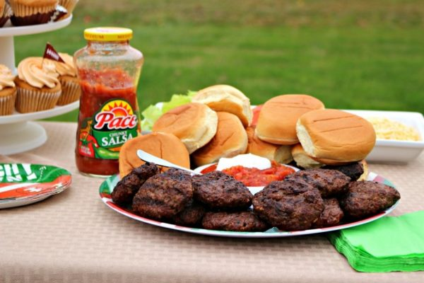 Taco seasoned slider burgers with all the fixings
