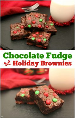 Baking brownies is always a fun holiday tradition. Check out these easy chocolate fudge holiday brownies with red and green M&M's® Milk Chocolate Baking Bits!